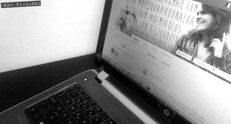 Kiljuva pikkunälkä -blogin Facebook-sivu HP Pavillion -tietokoneen ruudulla