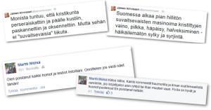 James Hirvisaari ja Martti Mölsä purkivat pettymystään Facebookissa.