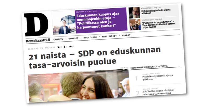SDP:n verkkolehti väittää virheellisesti, että SDP olisi uuden eduskunnan tasa-arvoisin puolue.
