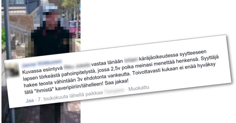 Pedofiiliksi väitetystä miehestä kertovaa Facebook-päivitystä on jaettu liki 300 kertaa.