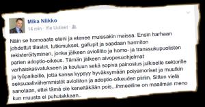 Kansanedustaja Mika Niikko (ps) arvelee, että lapsia aivopestään.