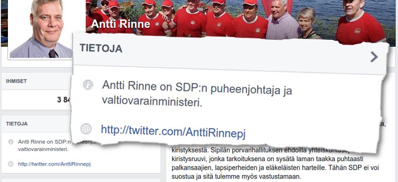 Antti Rinne kuvittelee olevansa edelleen valtiovarainministeri. Kuvakaappaukset Rinteen Facebook-sivulta.