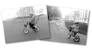 Sama paikka, sama pyörä. Esikoinen 2014, kuopus 2015.