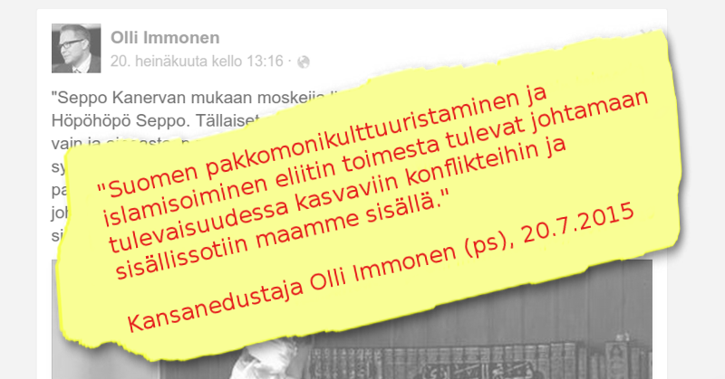 Olli Immonen ennakoi Suomeen sisällissotaa.