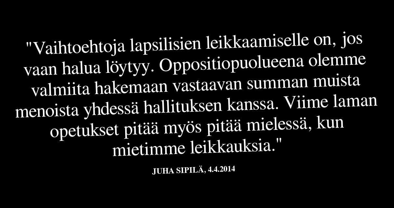 Juha Sipilän mielestä edellisestä lamasta olisi pitänyt ottaa oppia.