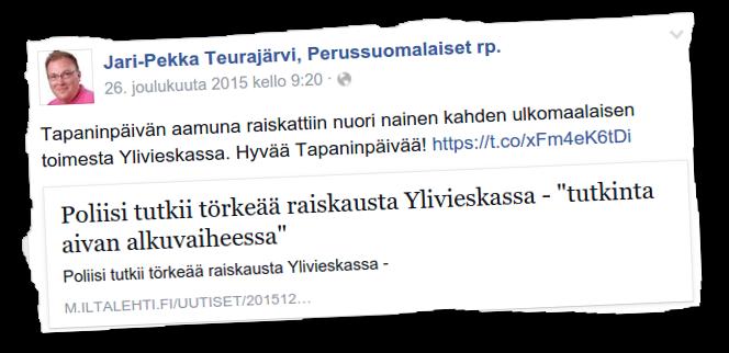 Jari Teurajärvi ei vaivautunut korjaamaan jakamaansa uutisankkaa.