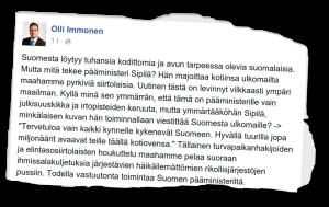 Olli Immonen moittii pääministeri Juha Sipilää.