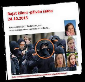 Li Anderssonin esitetään olleen naamioituneena mielenosoituksessa.