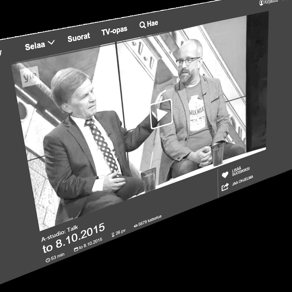 Mauri Pekkarinen varasti show'n keskusteluohjelmassa. Kuva: kuvakaappaus Yle Areenasta.