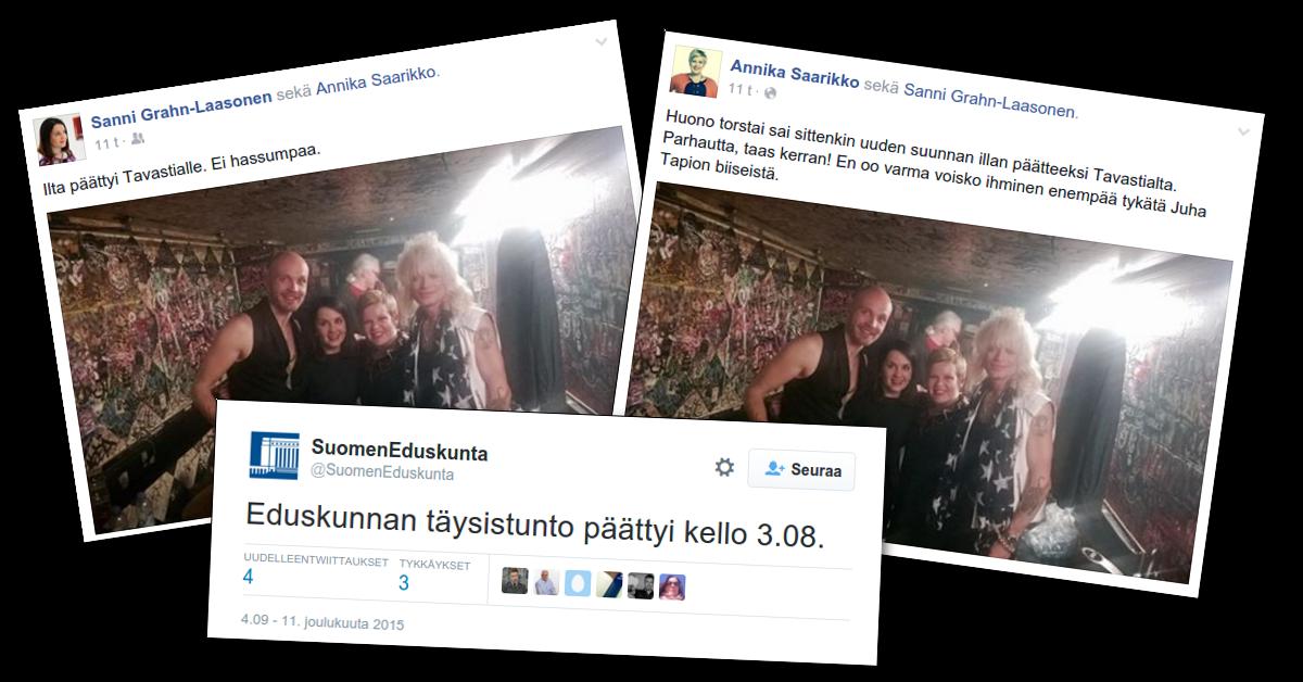 Sanni Grahn-Laasonen ja Annika Saarikko olivat Tavastia-klubilla, kun eduskunnassa käsiteltiin kiireellisisä asioita.