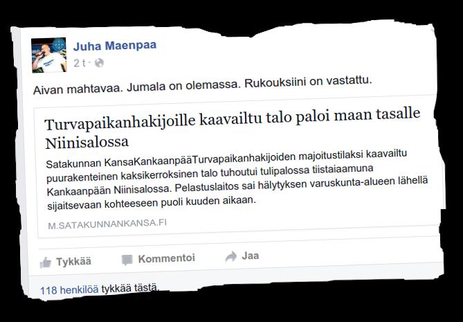 Juha Mäenpää iloitsi vastaanottokeskukseksi kaavaillun rakennuksen tuhoutumisesta.