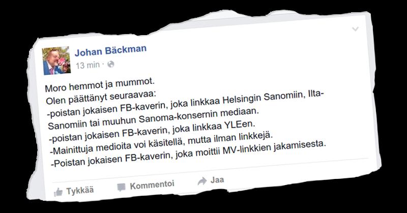 Dosentti Johan Bäckman suhtautuu niin sanottuun valtamediaan kriittisesti.