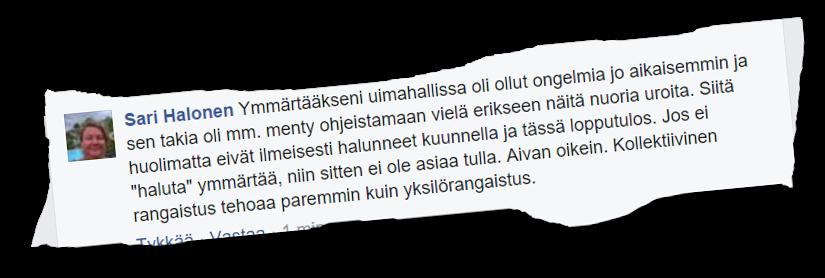 SDP:n Oulun kaupunginvaltuutettu Sari Halonen antaa vahvan tukensa joukkorangaistukselle.
