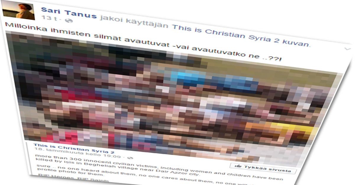 Kansanedustaja Sari Tanus (kd) levittää iljettäväksi propagandaksi napattua kuvaa kuolleista lapsista.