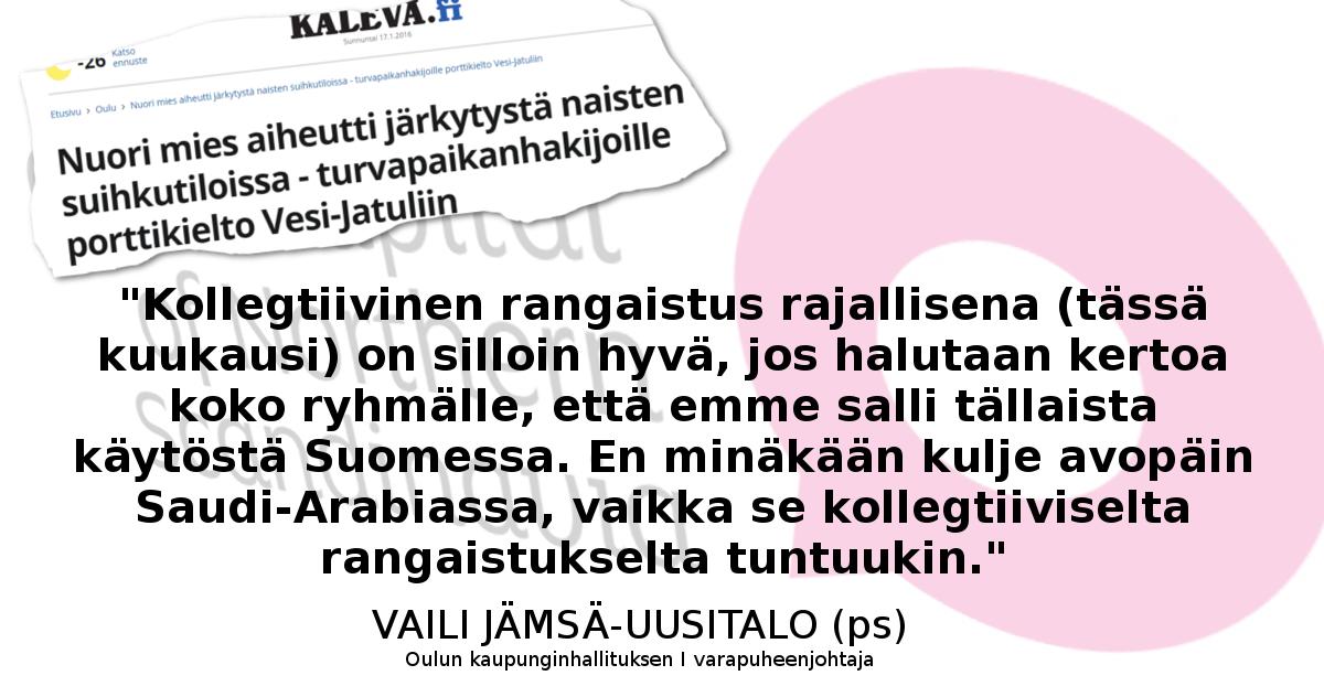 """""""Kollegtiivinen"""" rangaistus on Vaili Jämsä-Uusitalon mielestä hyvä juttu."""