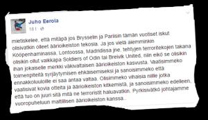Juho Eerola rinnasti katujengijärjestö Soldiers of Odinin ja natsiterroristi Breivikin.