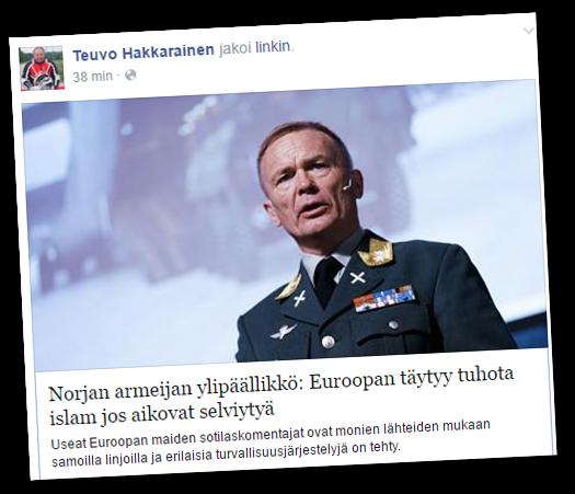 """Hakkarainen jakoi vihasivuston """"uutisen""""."""