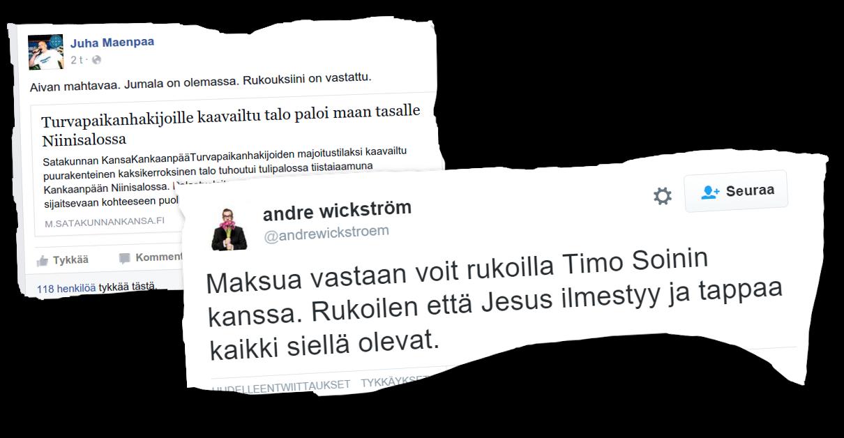 Timo Soini ei sanonut mitään, kun perussuomalaisten varakansanedustaja Juha Mäenpää kertoi rukoiluistaan.