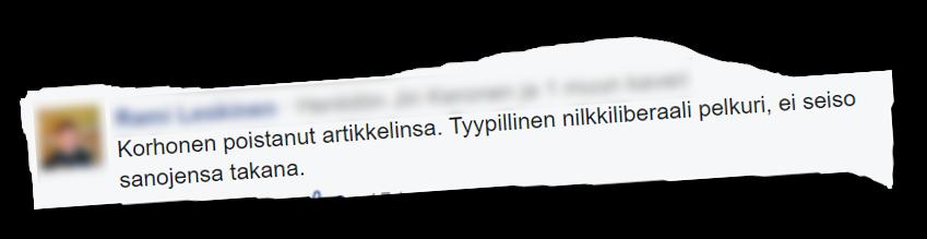 Kirjoituksen poistamista kommentoitiin Facebookissa.