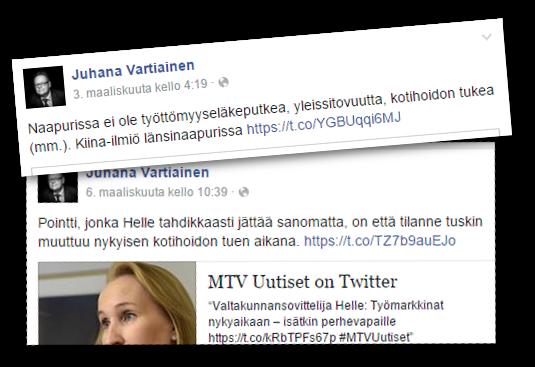 Juhana Vartiainen (kok) on arvostellut kotihoidontukea.