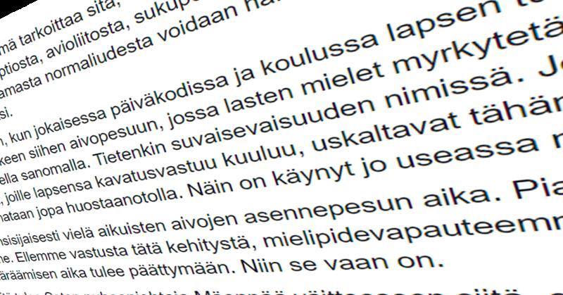Kansanedustaja Mika Niikon (ps) mukaan homoaivopesu voi johtaa koko yhteiskunnan kannalta mullistaviin lopputuloksiin.