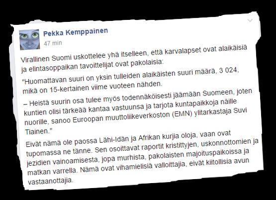 Rajat kiinni -kansanliikkeen johtohenkilöihin kuuluvan Pekka Kemppaisen Facebook-kirjoitus.