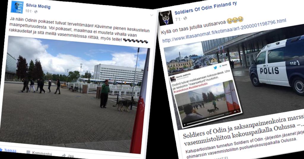 Soldiers of Odin osoitti mieltä Vasemmistoliiton puoluekokouksen liepeillä Oulussa.