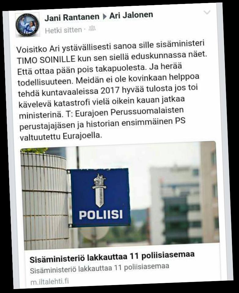 Persujen paikallisvaikuttaja ei tiedä, että Timo Soini on ulkoministeri.