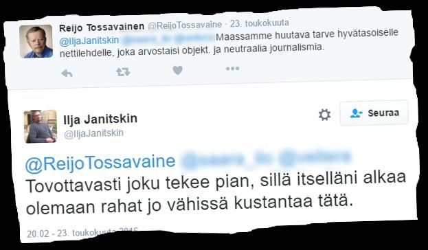 MV-lehden päätoimittaja Ilja Janitskin kertoi toukokuussa talousvaikeuksistaan.