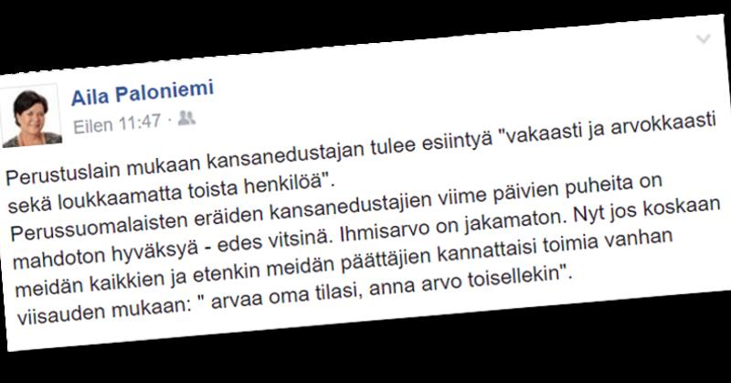 Keskustan Aila Paloniemi tuomitsee persujen möläytykset.