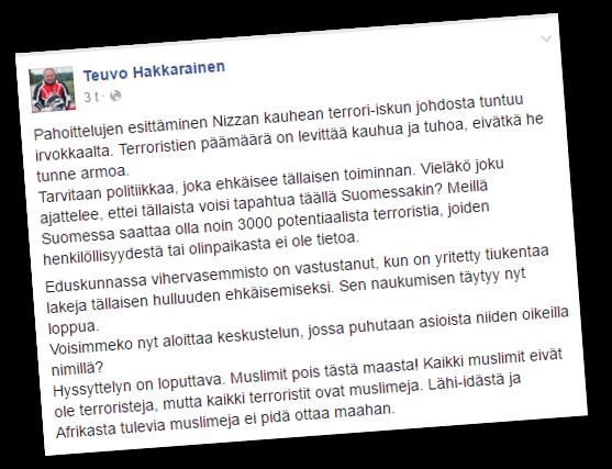 Teuvo Hakkarainen vaatii muslimeja pois Suomesta.