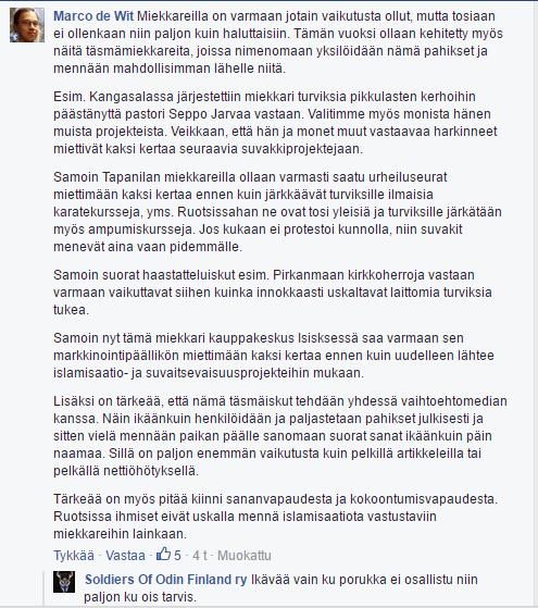 Toinen Suomi ensin -liikkeen johtajista Marco de Wit kertoo liikkeensä toimintatavoista.