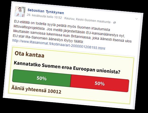 Sebastian Tynkkynen luottaa nettikyselyihin.