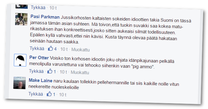 Rajat kiinni -kansanliikkeen Facebook-ryhmässä keskusteltiin Isän pikajunan kirjoituksesta.