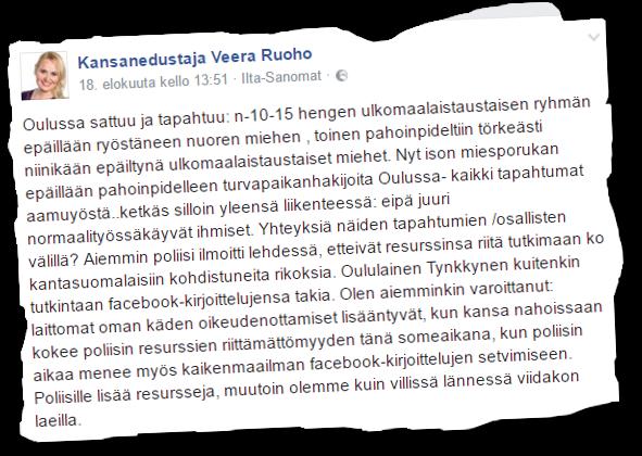 Kansanedustaja Veera Ruoho levittää vihapropagandaan omaksuttua tarinaa ulkomaalaistaustaisten rikoksista, joita poliisi ei tutki.