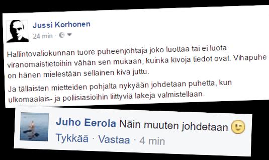 Juho Eerola kommentoi.