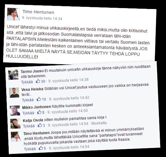 """Keskustelija kertoi Rajat kiinni -Facebook-ryhmässä saaneensa Unicefilta uhkauskirjeen. Sana """"partalapsi"""" nousi keskiöön."""