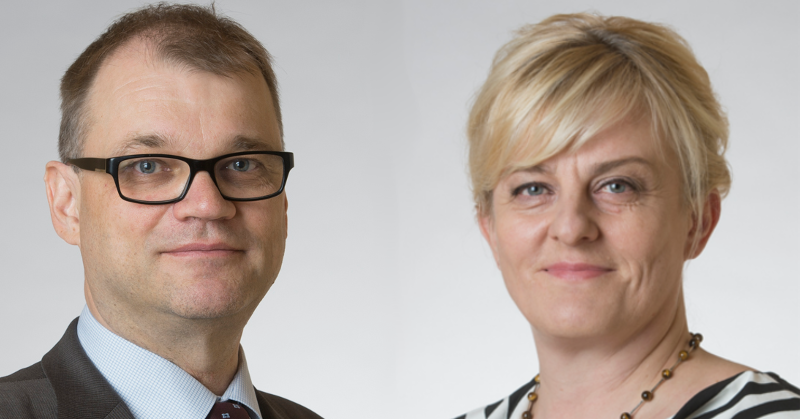 Pääministeri Juha Sipilä (kesk) ja sosiaali- ja terveysministeri Pirkko Mattila (ps). Kuvat: Eduskunta.