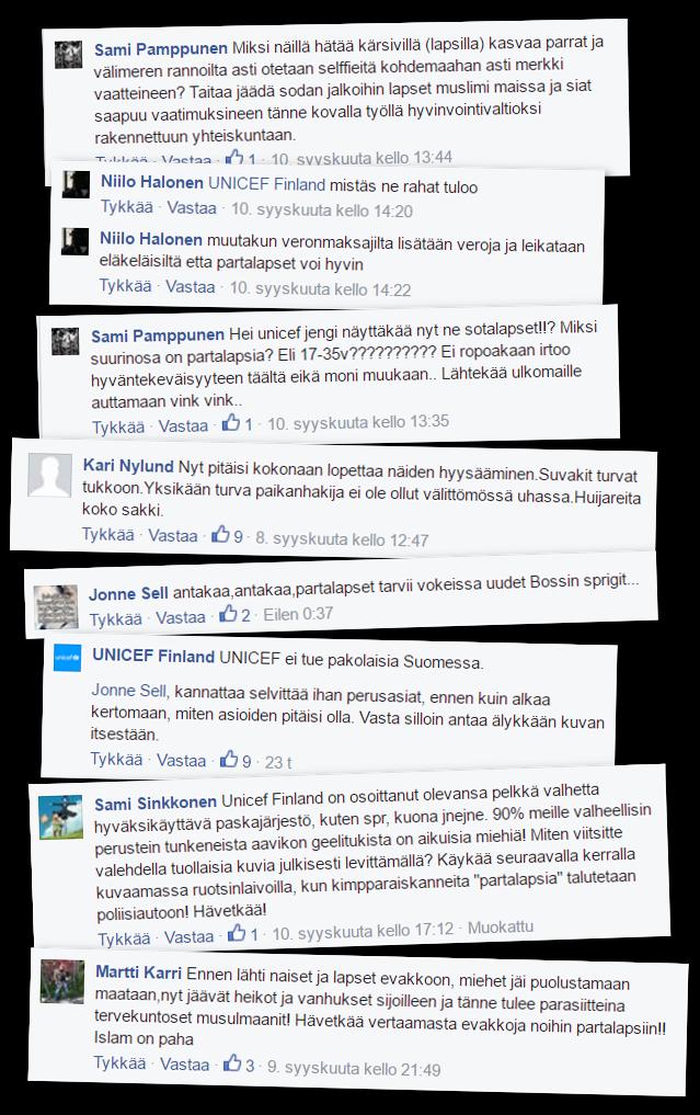 """Sana """"partalapsi"""" esiintyy usein Unicefin Facebook-sivulla käytyyn vihakampanjaan liittyvissä viesteissä."""