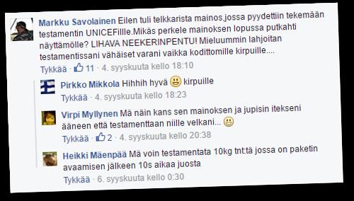 Unicefin kampanja suututti Rajat kiinni -Facebook-ryhmässä.