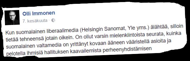 Suomen Sisun puheenjohtaja, kansanedustaja OIli Immonen (ps) puhuu Trumpin lailla liberaalista mediasta.