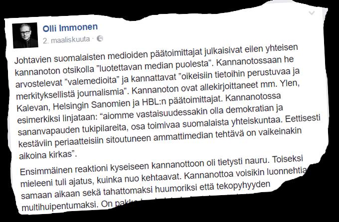 """Suomen Sisun puheenjohtaja, kansanedustaja Olli Immonen (ps) ei jätä käyttämättä hyväkseen tilaisuutta hyökätä parjaamaansa """"valtamediaa"""" vastaan."""