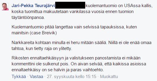 Jari-Pekka Teurajärveltä ei heru sääliä narkkareille.