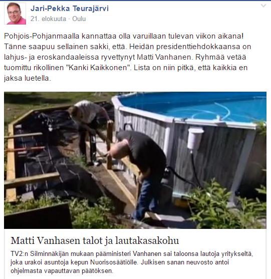 Jari-Pekka Teurajärvi tölvi keskustavaikuttajia.