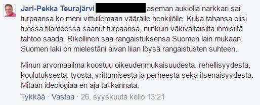 Jari-Pekka Teurajärvi pisti Helsingissä natsin tekemän pahoinpitelyn uhrin syyksi.