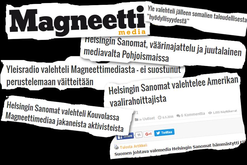 Suomen Vastarintaliikkeen verkkojulkaisu Magneettimedia kertoo mielellään valtamedian valehtelevan.