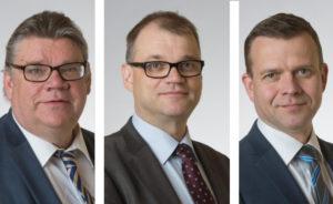 Timo Soinin, Juha Sipilän ja Petteri Orpon kuvat: Eduskunta.