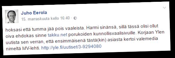 Kansanedustaja Juho Eerola (ps) vitsaili kuntavaaliehdokkuutensa peruneen ihonväristä.