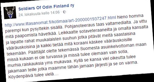 Katujengijärjestö Soldiers of Odin uhoaa päättäjille.