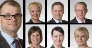 Juha Sipilä, Elsi Katainen, Markus Lohi, Juha Rehula, Mirja Vehkaperä, Hanna Mäntylä ja Pirkko Mattila. Kuvat: Eduskunta.